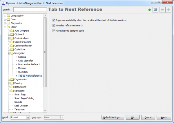 CodeRush Tab to Next Reference options page