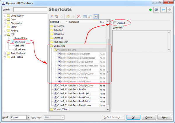 CodeRush Unit Testing Shortcuts options page