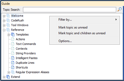 IDE Tools User Guide context menu simple