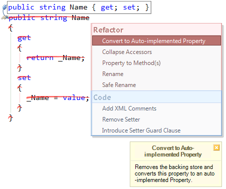 Refactor! Convert to Auto-implemented property preview (CS)
