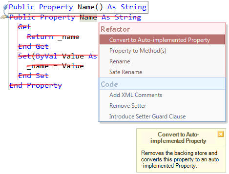 Refactor! Convert to Auto-implemented property preview (VB)