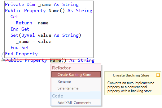 Refactor! Create Backing Store preview (VB)