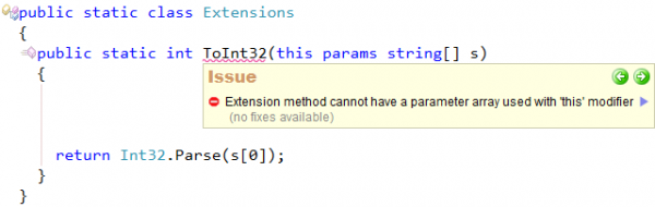 CodeRush Extension method cannot have parameter array