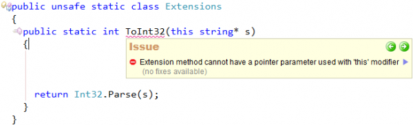 CodeRush Extension method cannot have a pointer parameter