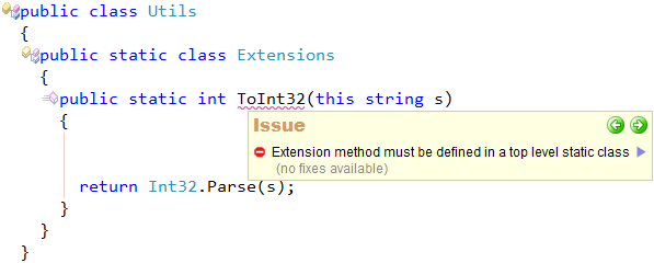 CodeRush Extension method must be defined in a top level static class