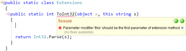 CodeRush Extension method 'this' parameter should be first