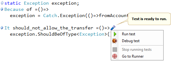 CodeRush MSpec test icons in the code editor