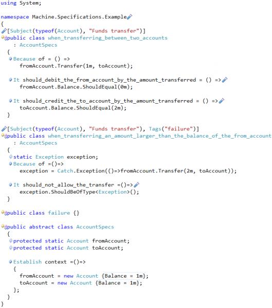 CodeRush MSpec tests sample