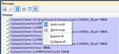 DXCore Message Log grid view context menu