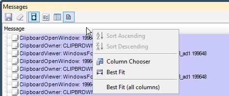 DXCore Message Log grid view header menu
