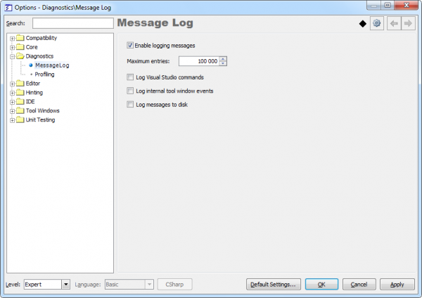 DXCore Message Log options page