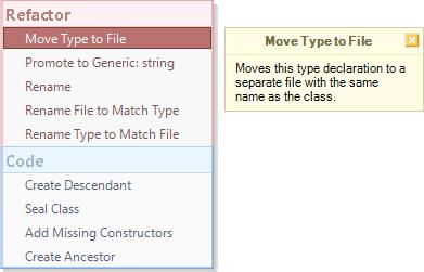 DXCore Refactor Code popup menu