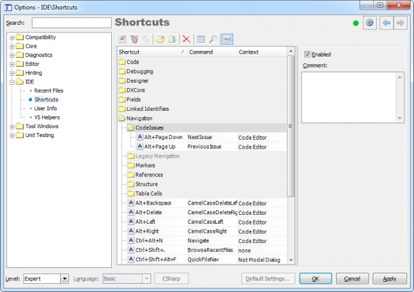DXCore Shortcuts options page with Code Issues shortcuts
