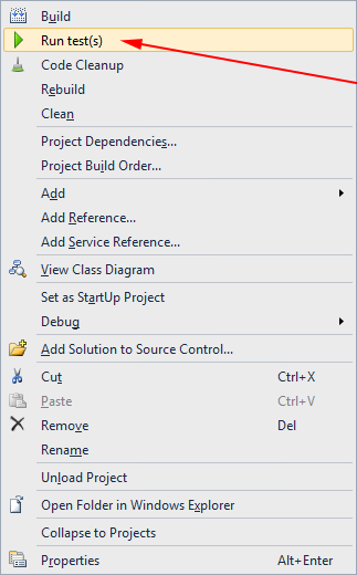 Unit Tests in Solution Explorer context menu