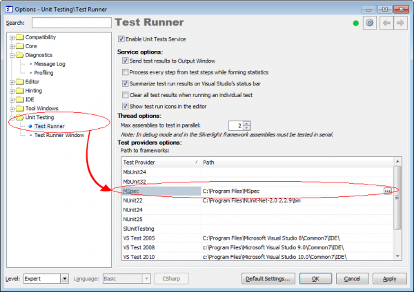 CodeRush Unit Test Runner options page
