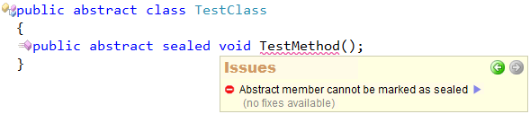 CodeRush Code Issues - Abstract member cannot be marked as sealed