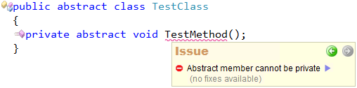 CodeRush Code Issues - Abstract member cannot be private