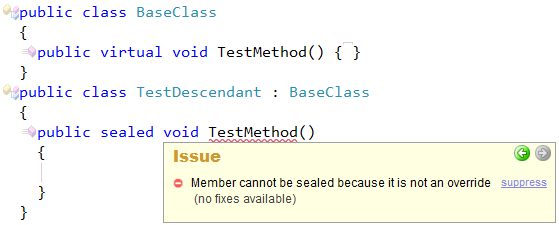 CodeRush Member Cannot Be Sealed Because It Is Not An Override Sample