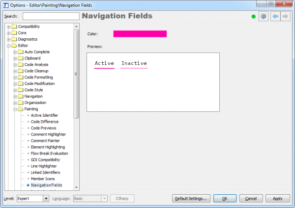 CodeRush Navigation Fields options page