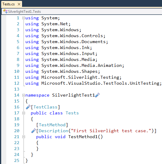 CodeRush New Silverlight test case in the code editor