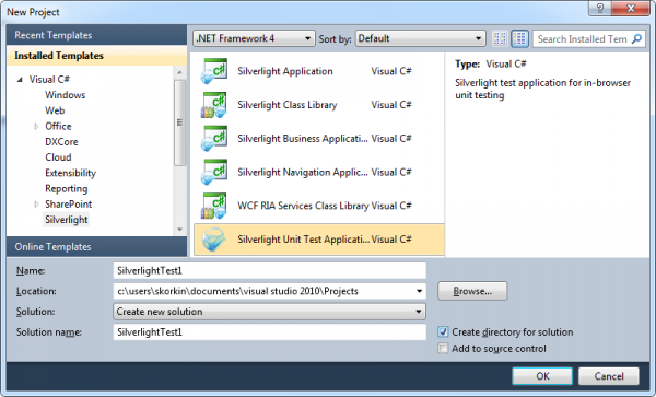 CodeRush New Silverlight Testing Project dialog