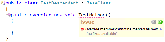 CodeRush Code Issues - Override member cannot be marked as new