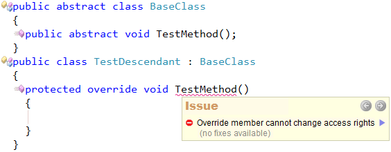 CodeRush Code Issues - Override member cannot change access rights