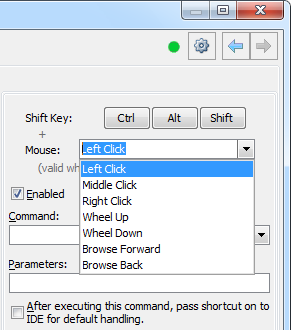 CodeRush Shortcuts page Mouse Shortcuts parameters