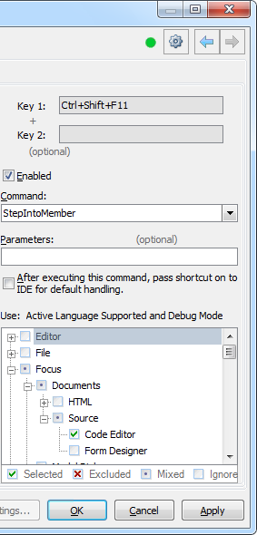 CodeRush Shortcuts page Shorcuts parameters area