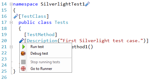 CodeRush Silverlight test case with testing icon