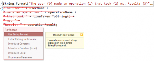 Refactor! Use String.Format preview