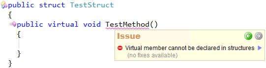 CodeRush Code Issues - Virtual member cannot be declared in structures