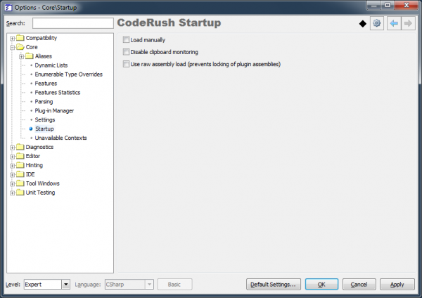 CodeRush Startup options page