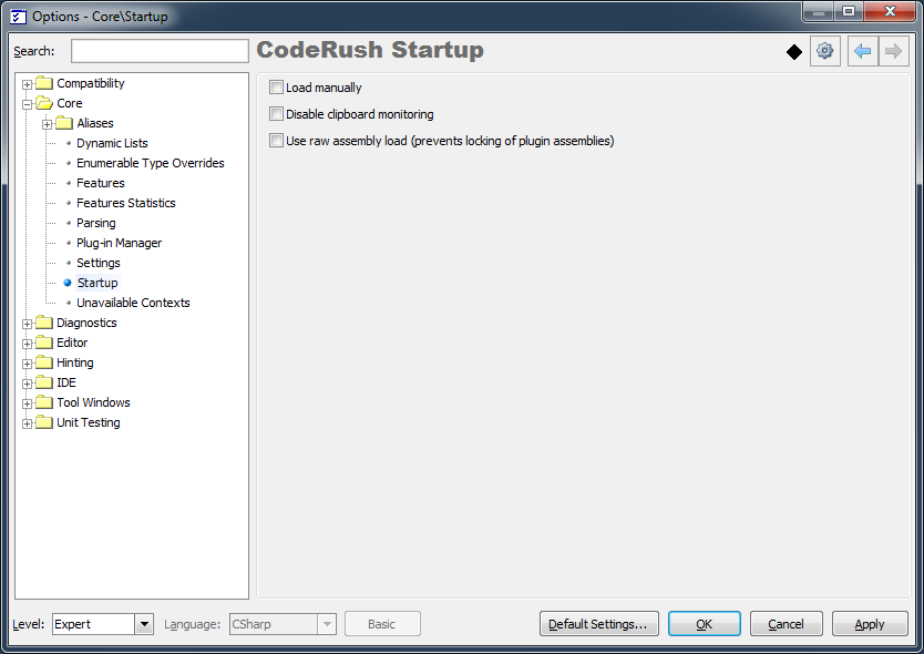 IDE Tools Startup options page | DevExpress CodeRush Tips