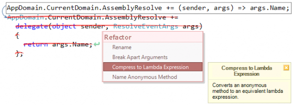Refactor! Compress to Lambda Expression preview