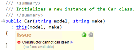 CodeRush Code Issues - Constructor cannot call it self