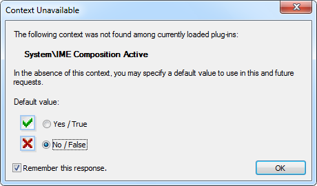 CodeRush Context Unavailable dialog