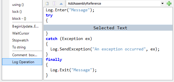 CodeRush Embedding Options expansion area