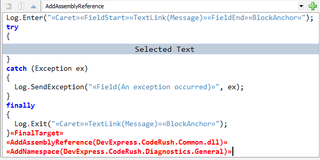 CodeRush Embedding Options expansion area text commands