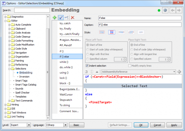 CodeRush Embedding Options Page