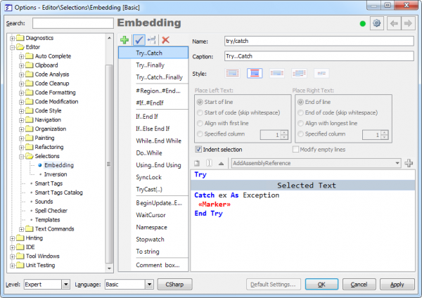 CodeRush Embedding Options page preview