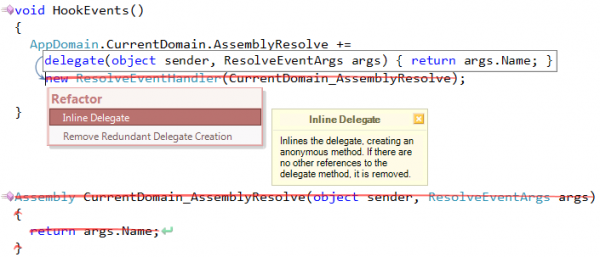 Refactor! Inline Delegate preview