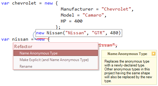Refactor! Name Anonymous Type preview