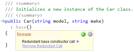 CodeRush Code Issues - Redundant base constructor call