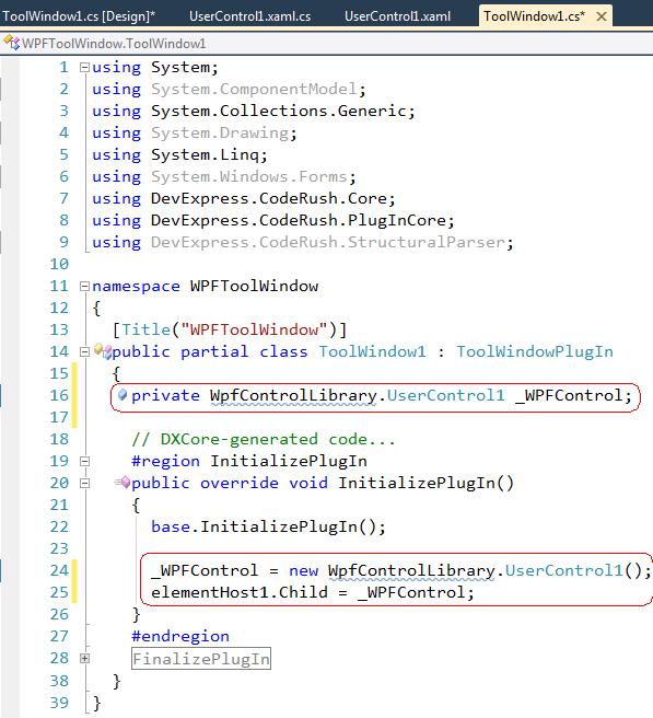 DXCore Tool Window code
