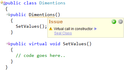 CodeRush Code Issues - Virtual member call in constructor