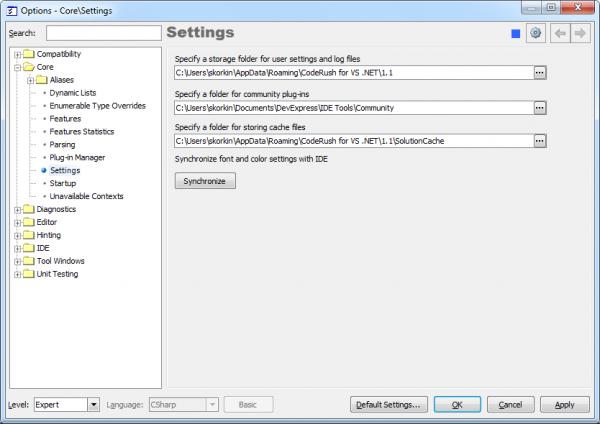 IDE Tools Core Settings options page