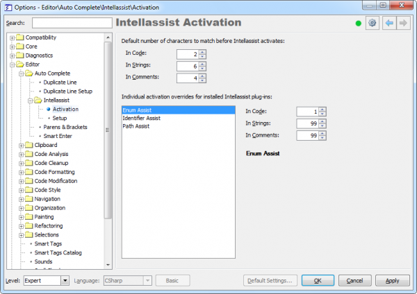 CodeRush Intellassist Activation options page