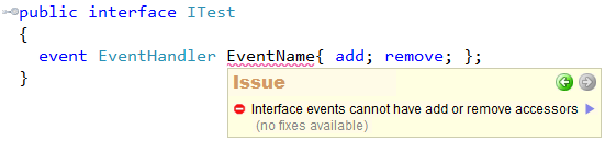 CodeRush - Interface events cannot have add or remove accessors