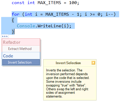 CodeRush Invert Selection code provider preview